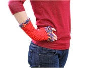 Fingerless Gloves in Red and Rainbow Colors - Mittens - Fall Winter Fashion - Women Teens Accessories
