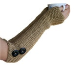 Knit Arm Warmers in Beige with Buttons - Neutral Long Fingerless Gloves - Winter Accessories - Women Teens Fashion