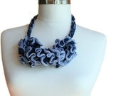 Knitted Necklace in Shades of Blue - Spring Summer Ruffle Fashion - Women and Teens Accessories