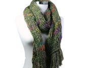 Knit Scarf with Fringes in Green and Multi Colors - Fall Winter Fashion - Women and Teens Accessories - Wrap