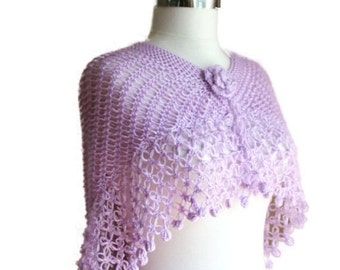 Lavender Capelet Scarf  with a Flower for Spring and Summer
