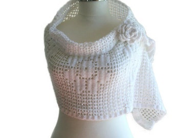 Sequined Scarf in Winter White with Roses and Flower Brooch - Bridal Shrug - Wedding Accessories - Womens Wrap - Elegant Shawl