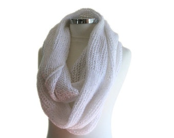 Lacy Infinity Scarf in Sequined Winter White - Long Loop Scarf - Chic Elegant Wrap - Winter Fashion - Women Accessories - Bridal Wrap