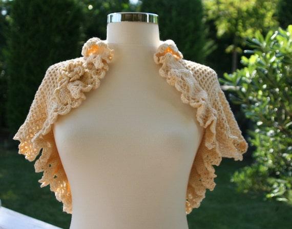 Spring Shrug in Vanilla with Flower and Lace Trim - Bridal Bolero - Spring Summer Fashion - Rustic Wedding -  Women Accessories  - Vest