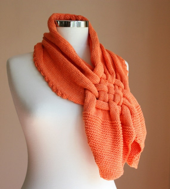 Wool Scarf - Hand Knit Orange Woven Cowl  - Halloween - Fall Fashion Harvest - Woods Rustic