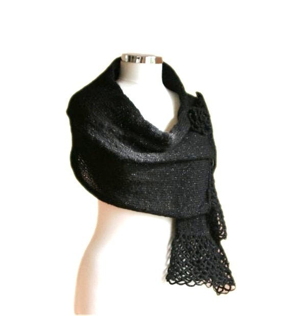 Black Sparkled Scarf with Flower Brooch and Lace Trim - Women's Wrap - Elegant and Chic Shawl - Spring Fall Winter Fashion