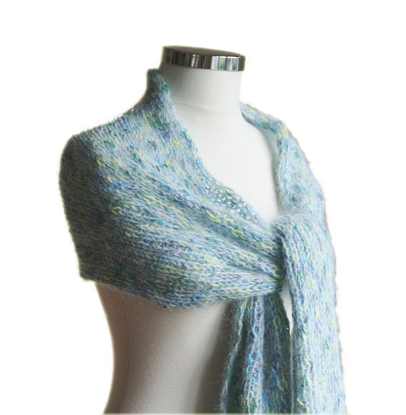 Knit Scarf in Soft Blue and Pastel Multi Colors - Fall Winter Fashion - Women and Teens Accessories - Warm Wrap - Shawl - Pastel