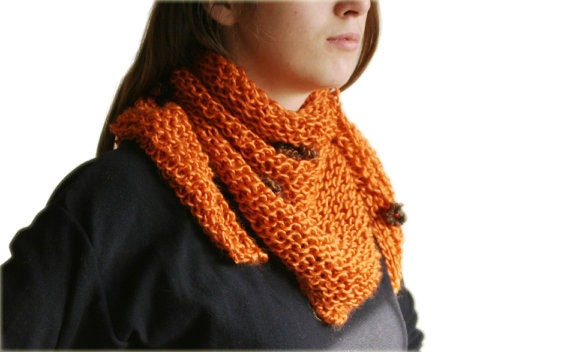 Wool Knit Scarf in Persimmon with Flower Appliques -  Neck Warmer - Women Teens Accessories - Fall Winter Fashion - Harvest - Orange