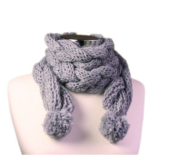 Braided Alpaca Scarf with Pom Pom in Grey - Gray Scarflette - Fall Winter Fashion - Teens Women Accessories