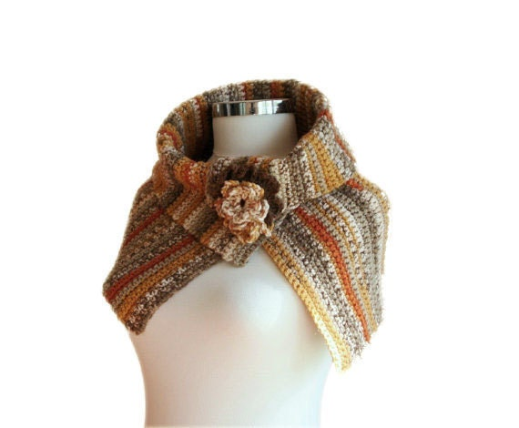 Tribal Striped Capelet Scarf in Earth Tones - Mustard Yellow,  Burnt Orange and Grey - Western Fashion - Women Accessories - Fall Winter