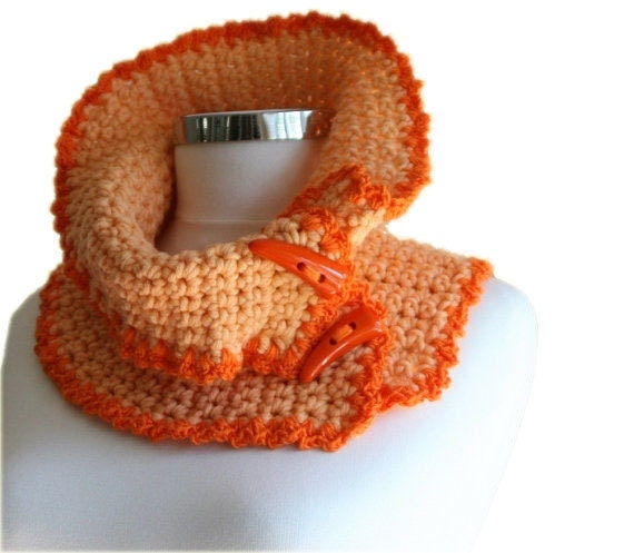 Neck Warmer Scarf in Salmon and Orange Lace Trim with Buttons - Snood - Tangerine -  Cowl - Women Teens Accessories - Fall Winter Fashion