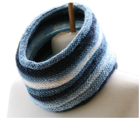 Men's Neck Warmer in Shades of Blue - Fall Winter Fashion - Striped Cowl