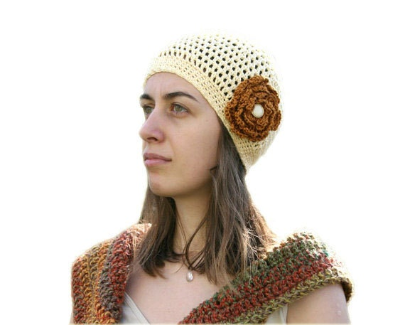 Crochet Hat in Yellow - Handmade Beanie with Brown Flower - Spring Summer Fall Fashion - Women and Teens Accessories