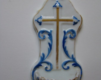 French Porcelain Blue and White Holy Water Font with Golden Cross