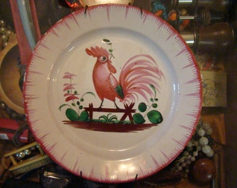 East France Ceramic Rooster Plate 19th Century
