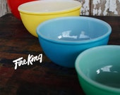 RESERVED FOR KELLY S. Fire King 4 piece glass beaded edge primary colors mixing bowls