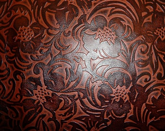 "Leather 3""x11"" Burgundy Brown Vintage Floral Western Shiny cowhide 2.75-3 oz /1.1-1.2 mm PeggySueAlso™"