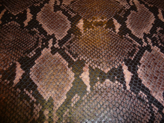"""12""""x12"""" LAST ONE Amazon Cobra Brown Snake embossed Leather Cowhide 1 square foot  from PeggySueAlso"""
