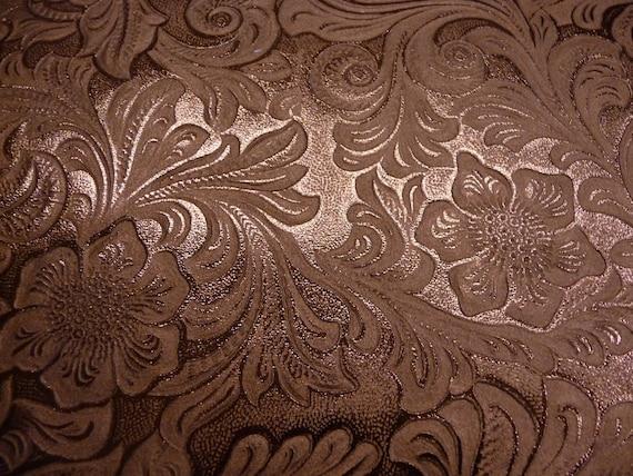 """8""""x10"""" BRONZE Metallic SHINY Foil Western Rock Rose Garden cowhide Leather Hide Last One"""