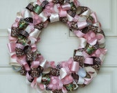 Pink and Brown Leopard Ribbon Wreath - ribbon wreath leopard wreath housewares home decor new baby baby shower