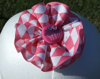 Pink and White Ruffled Ribbon Flower - hair flower hair clip alligator clip hair bow ribbon flower ribbon bow ribbon clip