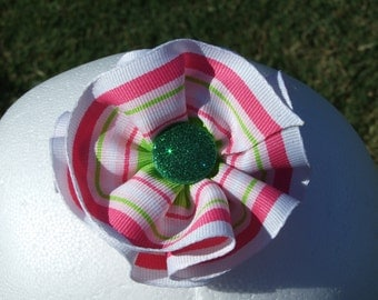 Striped Ribbon Hair Clip - ribbon clip hair bow hair flower flower clip over the top  hair clip