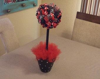 Razorback Ribbon Topiary - ribbon Arkansas razorback sports decor hogs ribbon topiary housewares home decor table decoration