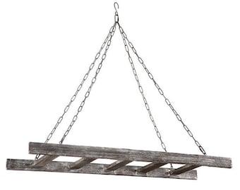 Barnwood Ladder Pot Rack