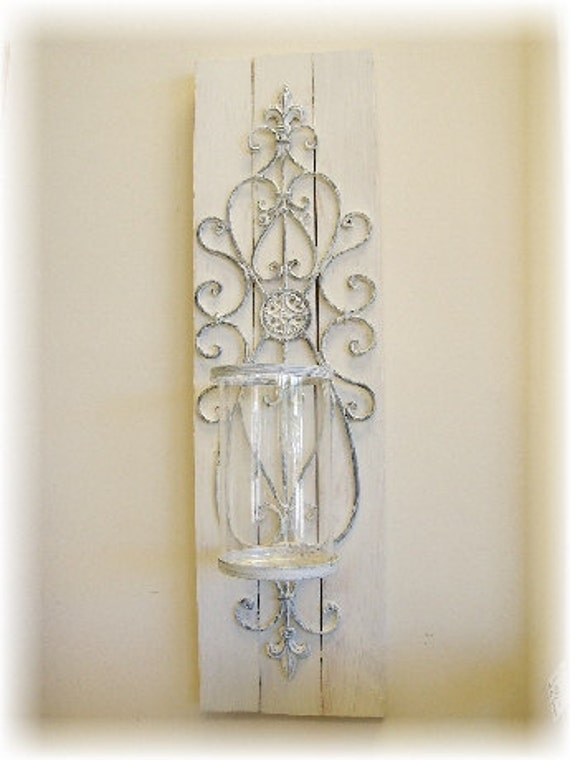 Shabby Chic Candle Wall Sconce PAIR by KenryAndCompany on Etsy