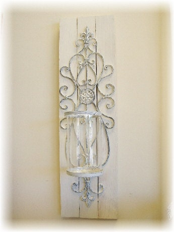 Wall Sconces That Look Like Candles : Shabby Chic Candle Wall Sconce PAIR