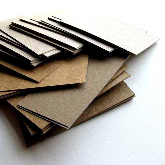 100 Blank Business Cards Recycled Cardboard - DIY