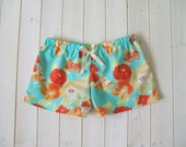 Boxer Shorts-Turquoise And Orange Floral-Lingerie-Loungewear-Pyjamas-Made To Order
