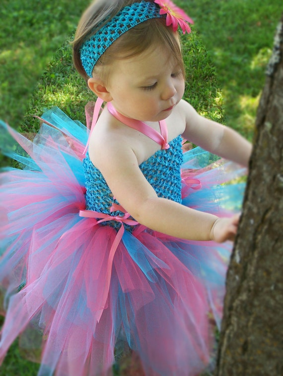 Baby TuTu Dress, Turquoise Blue Pink, first birthday party, special occasion, flower girl, photography prop, costume, baby shower gift