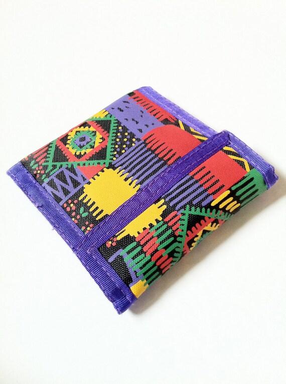 Multi Color 80s Aztec / Navajo Print Wallet