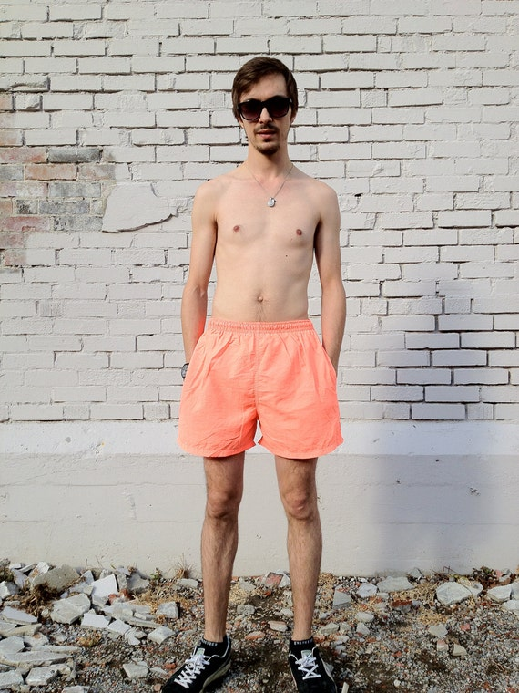 1988 Neon Orange Campus Crew Swim Trunks - 24 to 30