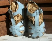Reserved for Anni ONLY /             Vintage Baby Blue Leather Baby Sandals