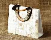 Vintage Mother of Pearl Handbag with Tortoise Look Lucite Handles