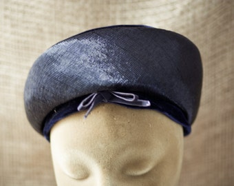 Vintage Suzy Michelle Navy Blue Hat with Navy Velvet Ribbon Trim