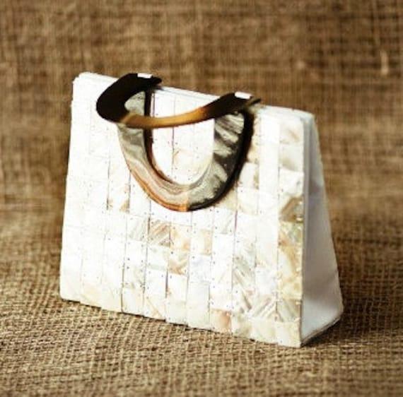 Vintage Mother of Pearl Handbag with Tortoise Look Lucite Handles