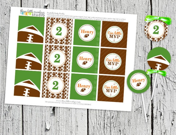 DIY Football Party Circles (Cupcake toppers, thank you tags, gift tags, etc.)