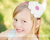 White Zinnia with Glitz center on Pink hard Satin headband