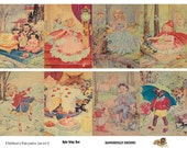 Vintage Fairytale Illustration Cinderella, Little Red Riding Hood,  ATC, ACEO - Digital Collage Sheet (no 017)