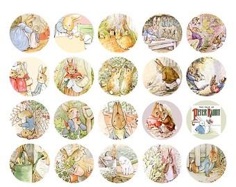 Beatrix Potter Peter Rabbit 1 inch circles bottlecaps  -Digital Collage Sheet no ( 018 )