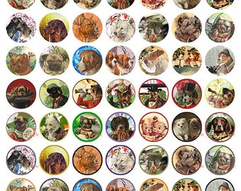 Vintage dogs 1 inch circles  - Digital Collage Sheet No (056)