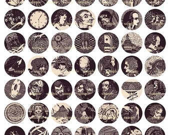 Gothic Illustrations  1 inch circles - Digital Collage Sheet No (057)