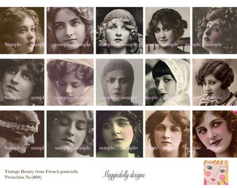 Vintage Beautiful Women Old French Postcards Twinchies 2 x 2 inches - Digital Collage Sheet (058)