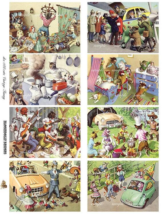 Cats Vintage Funny - Digital Collage Sheet (088)
