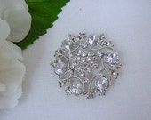 Rhinestone Wedding Brooch Bouquet Hair Clip - Alicia