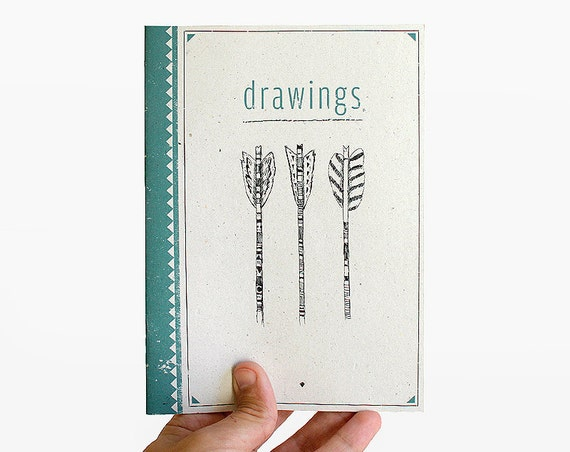 RESERVED arrow tribal drawings - notebook - limited edition of 10