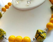 Sunny Yellow Vintage Bead Necklace and Crystal Earrings